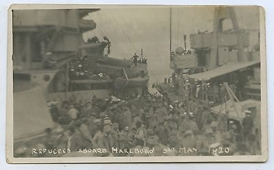 1920 Rp Postcard Refugees On Hms Marlborough Yalta Russian Revolution J87