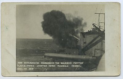 1919 Rp Postcard Hms Marlborough Bombarding Bolshevics Kersh Peninsula J88