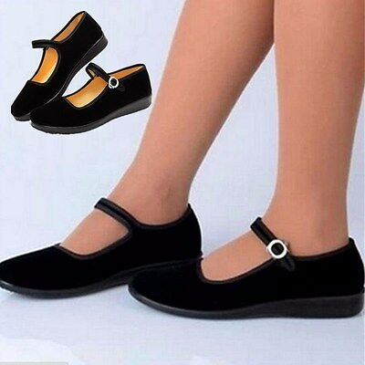 Ladies Chinese Traditional Shoes Ballerina Work Velvet Fabric Flats Rubber Sole