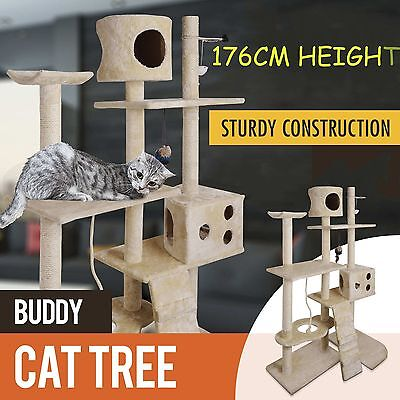 176cm Cat Kitten Tree Tower Furniture Toy Scratching Pole Post Activity Gym AU
