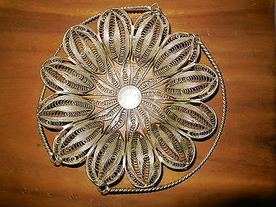 ANTIQUE PERSIAN SILVER  SADAF HOSSEINY Napkin Holder Fruit Candy Bowl