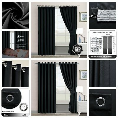 Eyelet Or Pencil Pleat Ready Made Interwoven Thermal Supersoft Blackout Curtains