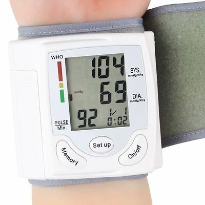 Digital LCD Wrist Blood Pressure Monitor Heart Beat Rates Pulse Meter Measure ZT