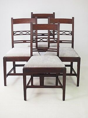 Set 4 Antique Georgian Mahogany Dining Chairs - Regency Kitchen Desk Side Chairs