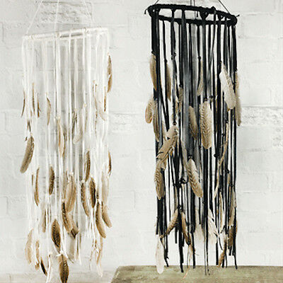 Hanging Mobile Feathers Boho Mobile Gypsy Cream or Black Brown Faux Leather 70cm