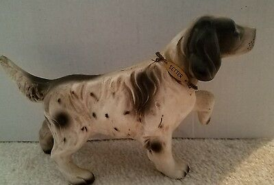 Vintage English Setter Dog with Collar, Standing Figurine  Porcelain Japan