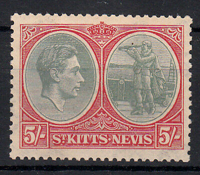 ST KITTS NEVIS 1938/50 KGV AND  COLUMBUS 5/- GREY GREEN SCARLET SG: 77 MNH vf