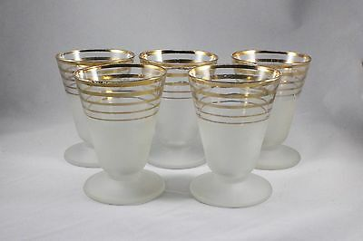 Vintage Libby Juice Glasses, Gold And Frosted Glass, Set Of 5, Mid Century