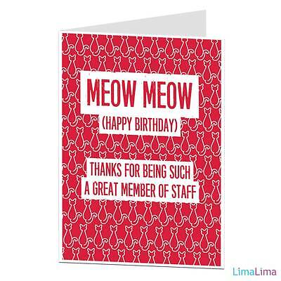 FUNNY HAPPY BIRTHDAY Card From Cat Theme Joke Humour For