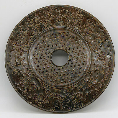 Chinese culture carved jade bronze Bi Disc with grains Chi dragon 664g C698