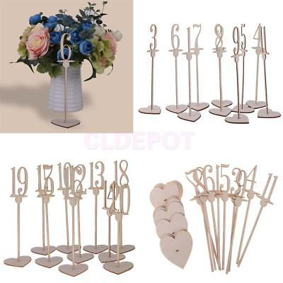 10pcs/Set Wooden Table Numbers with Heart Base Free Standing Wedding Table Decor