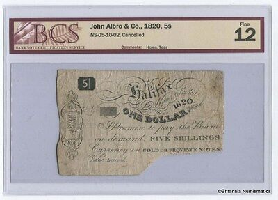 JOHN ALBRO & CO, Halifax Nova Scotia 5 Shillings BCS F-12 Inv #1304