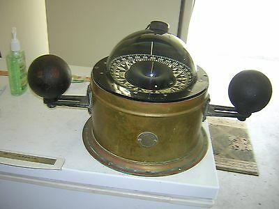 Brass Binnacle Ferry Compass With Light