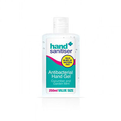 Hand Sanitiser Antibacterial Hand Gel Cucumber and Mint 250ml Safe and Sound Gel