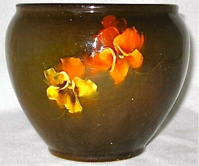 "Signed Weller art pottery PANSY small jardiniere, 5 1/2"" d."
