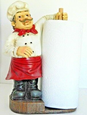Fat Chef Towel Holder Shelf Table top French Cafe Bistro Kitchen Home  Decor New
