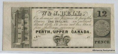 W & J BELL, Perth, Upper Canada One Shilling Remainder Scrip c1839  Inv 2917