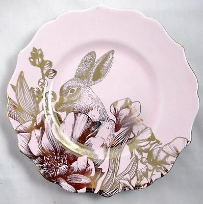222 Fifth Garden Playtime Gold and Pink Salad Plate Porcelain