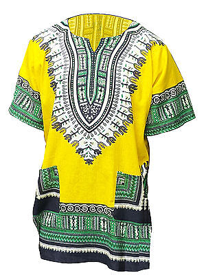 Yellow African Print Dashiki Shirt from Small to 7XL Plus Size DP3821