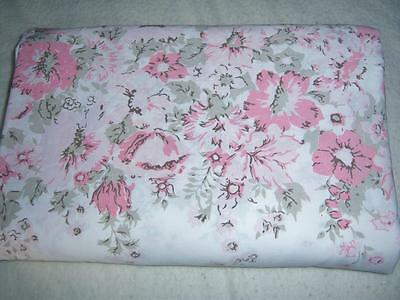 Vintage KING White PINK and GRAY Floral Flower BORER FLAT SHEET  Cutter or Resew