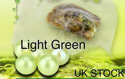 1 x Akoya Oyster With LIGHT GREEN Pearl Inside **UK STOCK**