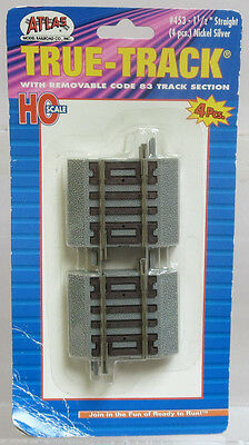 Atlas True-Track #453 1.5 Inch Straight Code 83 w/Roadbed (4 Pieces) HO Scale