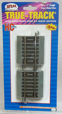 Atlas True-Track #454 2 Inch Straight Code 83 w/Roadbed (4 Pieces) HO Scale