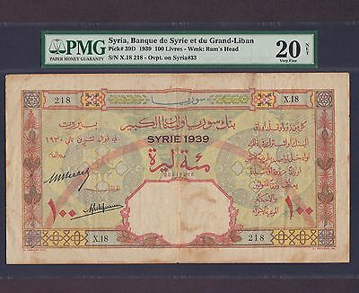 Syria Liban, 100 Livres 1939(old date 1930), P-39D, * Very Rare *