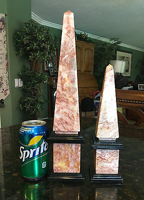 Pair of Pink Marble Obelisks with solid Black Marble Trim ~ 14 inches tall (2)