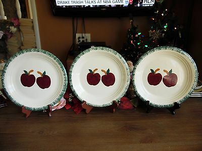 "3 Alco Green Sponge & 2 Apples Design Stoneware Dinner Plates 10.5""r"