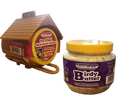BIRDY BUTTER - Suet To Go Hanging Feeder Wild Bird Feed Mealworm bp Pet Fat Food