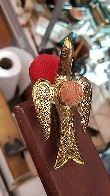 Antique Vintage Brass Sewing Bird With Clamp Pin Cushion