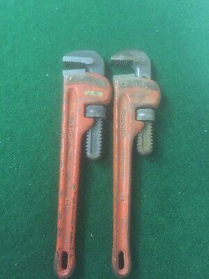 """TWO Used 14"""" RIDGID Pipe Wrenches. Ohio U.S.A."""