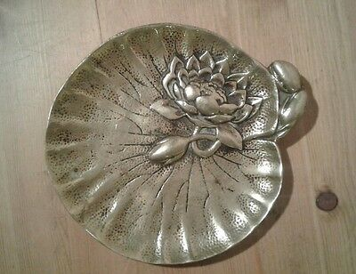 Antique art noveau water lily design bronze/brass card tray