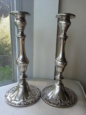 Gorham Sterling Silver Candle Stick Holders Pair, Pattern Chantilly 9.5 inches