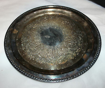Antique Tray Round Tray Silverplate On Copper Serving Tray Cocktails Melford