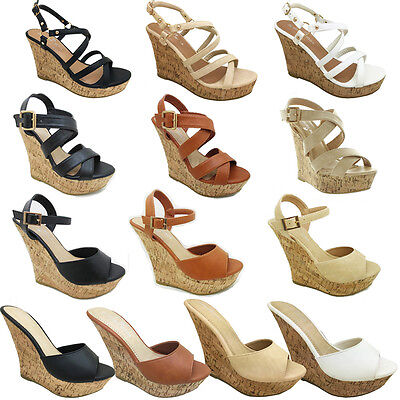 NEW Slip On Cork Wedge Platform Peep toe High Heel Fashion Party Pump Women Shoe