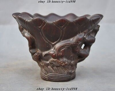 """6"""" Collect rare old chinese ox horn Carved Pixiu Beast Statue Wine vessel cup"""
