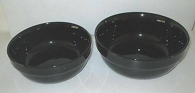 2 Black Kitchen Table Bowls Decor china Large & Middle Size Mixing Bowl Solid