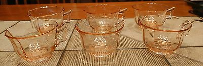 6 Pink Federal Depression Glass Cups