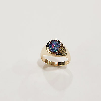 9ct Yellow Gold Doublet Opal Ring Gents Signet