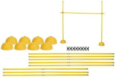 Pro Sports Fitness Gym Agility Poles Crossbar Clips Dome Bases Hurdle Set Yellow