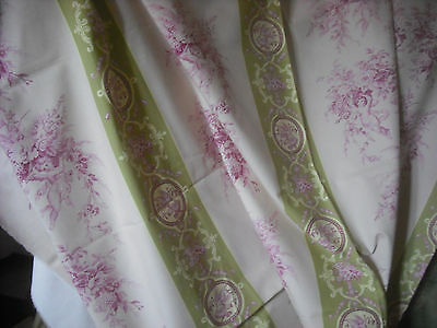 French Vintage linen Fabric jouy style