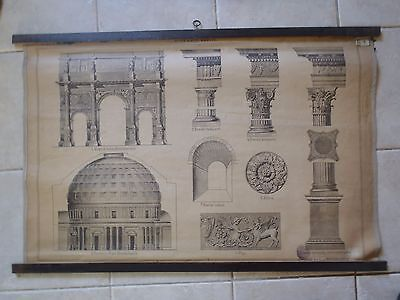 Original vintage school chart of the Roman architectural style