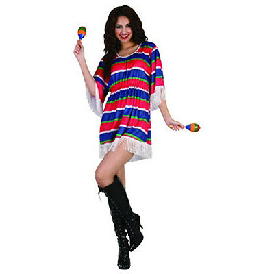 Women Adult Mexican Girl Costume Poncho Sarappe Fiesta Fancy Dress Wild West