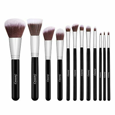 Set 12 Pennelli Professionali make up Kabuki Fondotinta Blush Eyeliner Cipria