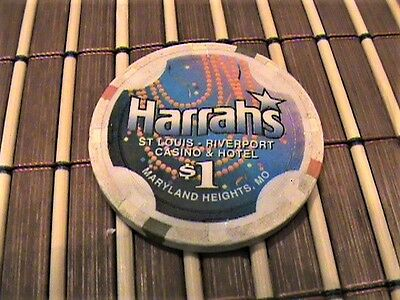 Harrah's St-Louis Riverport 1$ Casino Chip Maryland Heights, MD USA
