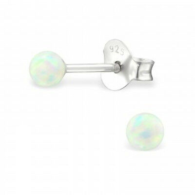 Tiny White Lab Created Opal Stud Earrings 925 Sterling Silver Posts October