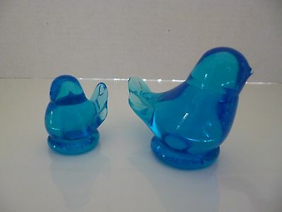 Two Bluebird of Happiness Leo Ward Signed 1986 1990 Glass Figurines