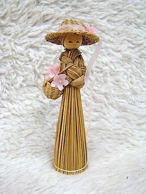 Handmade Doll Carrying Basket of Flowers with Hat, Made of Wood & Broom Grass
